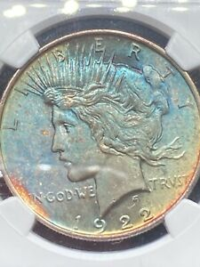 1922 NGC MS 63 PEACE SILVER DOLLAR   STUNNING BLUE TONING ON OBVERSE 1 OF A KIND
