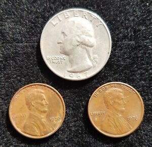 SMALL COLLECTION OF OLD UNITED STATES COINS. QUARTER AND ONE CENTS.