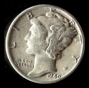 1940 P MERCURY 90  SILVER DIME SHIPS FREE. BUY 5 FOR $2 OFF