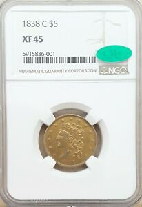 Click now to see the BUY IT NOW Price! 1838 C $5 NGC XF 45 CAC. ONLY 15 CAC IN ALL GRADES.