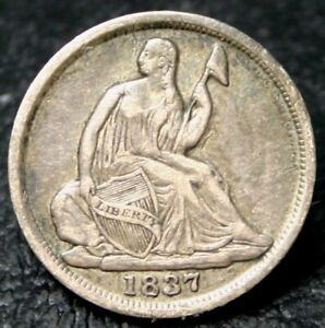 1837 SEATED LIBERTY HALF DIME TYPE 1 NO STARS   VF   NICE COIN NO PROBLEMS HERE