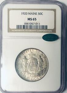 1920 MAINE COMMEMORATIVE SILVER HALF DOLLAR   NGC MS 65    MINT STATE 65 CAC