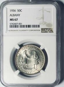 1936 ALBANY COMMEMORATIVE SILVER HALF DOLLAR   NGC MS 67   MINT STATE 67