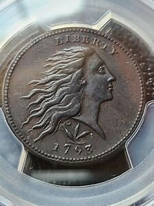 1793 WREATH LARGE CENT PCGS AU DETAILS  VINE AND BARS EDGE BEAUTIFUL LARGE CENT