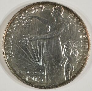 1915 S PANAMA PACIFIC SILVER HALF DOLLAR 50C AU/UNC DETAILS CLEANED