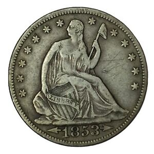 1853 50C SEATED LIBERTY HALF DOLLAR ARROWS & RAYS XF