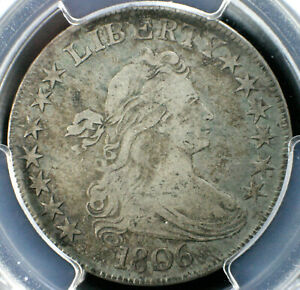 1806 DRAPED BUST HALF DOLLAR POINTED 6 WITH STEM   PCGS VF25 O 115A