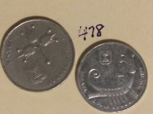 2  ISRAEL COINS; 1982 10 SHEQALI; 1979 1 LIRA; CIRCULATED