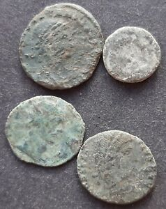 ROMAN BRONZE COINS. LOT OF 4 COINS