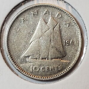 1947 CANADA 10 TEN CENTS DIME SILVER   COMBINED SHIPPING   C10 066