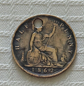 1862 GREAT BRITAIN HALF PENNY BRONZE BRITANNIA SEATED USED AS CHARM