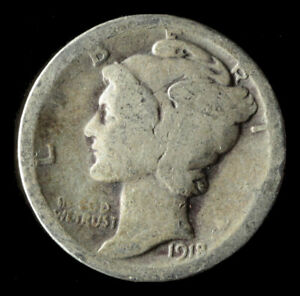 1918 P MERCURY 90  SILVER DIME SHIPS FREE. BUY 5 FOR $2 OFF