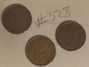 3  GREAT BRITAIN / UNITED KINGDOM 1/2 PENNY COINS; CIRCULATED; UNCERTIFIED