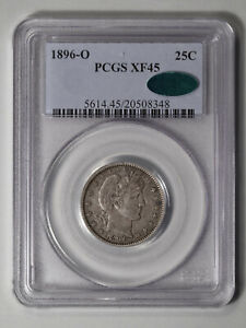1896 O BARBER QUARTER PCGS & CAC XF 45   A TOUGH SEMI KEY DATE
