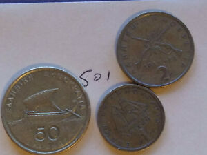 GREECE / GREEK 1976 1 DRACHMA 1982 2 DRACHMA & 1988 50 DRACHMES COINS 501