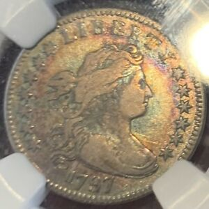 1797 DRAPED BUST SMALL EAGLE DIME JR 2 13 STAR NGC VF30 SUPERBLY TONED