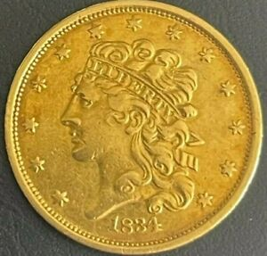 1834 $5 FIVE DOLLAR GOLD LIBERTY COIN  CH AU NO MOTTO PLAIN 4 VAR.   HALF EAGLE