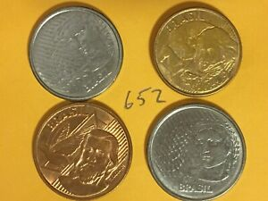 4  BRAZIL / BRAZILIAN COINS: 2 DIFFERENT STYLES 5 & 10 CENTAVOS