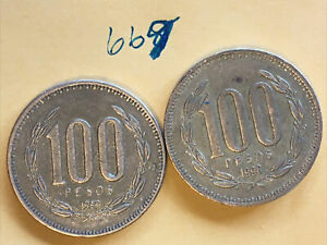 2  CHILE COINS: 1998 & 1999 100 PESOS EXCELLENT TONING