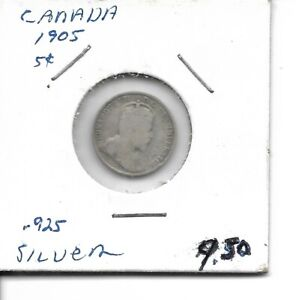 1905 CANADIAN SILVER 5 CENT COIN