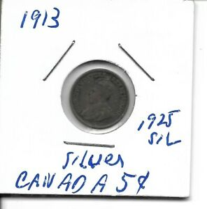 1913 CANADIAN SILVER 5 CENT COIN