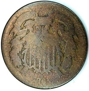 1865 P 2C COPPER TWO CENT PIECE 20STL0418 70 CENTS SHIPPING