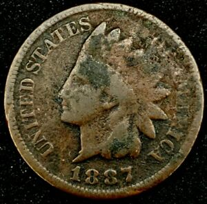 1887 P 1C INDIAN HEAD CENT 20RR1121 70 CENTS SHIPPING