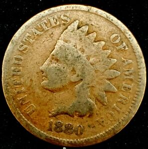 1880 P 1C INDIAN HEAD CENT 20RR0920 70 CENTS SHIPPING