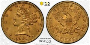 1901 LIBERTY GOLD $5 HALF EAGLE PCGS UNC DETAIL GOLD SHIELD