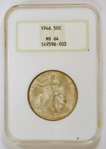 1946 P WALKING LIBERTY SILVER HALF DOLLAR GRADED MS64 BY NGC IN NO LINE FATTY