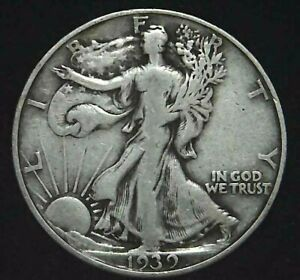 1939 D 50C WALKING LIBERTY HALF DOLLAR 90  SILVER 21LTLH0421