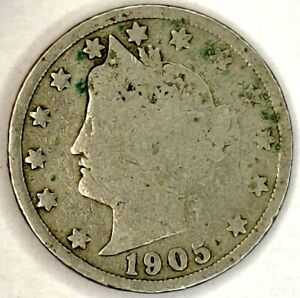 1905 P 5C LIBERTY HEAD NICKEL 20WC0112 70 CENTS SHIPPING