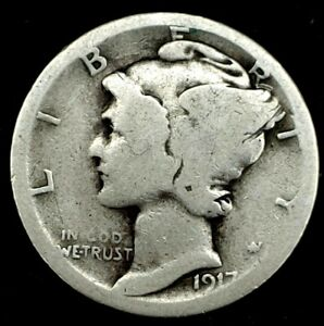 1917 S 10C MERCURY DIME 90  SILVER 20OUH1220 1 70 CENTS SHIPPING