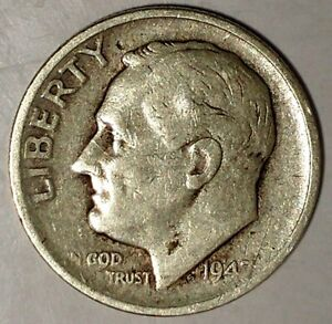 1947 S 10C ROOSEVELT DIME 90  SILVER 17LSR2412 2 70 CENTS SHIPPING