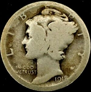 1918 S 10C MERCURY DIME 90  SILVER 20OOU0620 70 CENTS SHIPPING