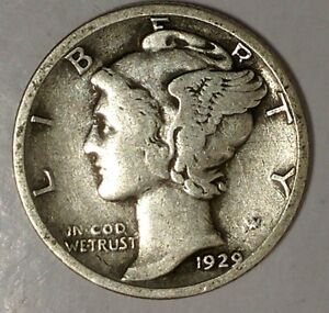 1929 P 10C MERCURY DIME 90  SILVER 18OCT0916  70 CENTS SHIPPING
