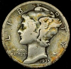 1935 S 10C MERCURY DIME 90  SILVER 19LRR0501 2 70 CENTS SHIPPING