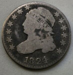 1824/2 CAPPED BUST DIME GOOD