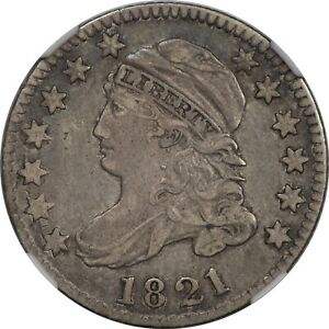 1821 BUST DIME LARGE DATE JR 1 NGC XF 40 CAC NICE TYPE COIN