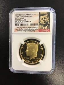 2014 W KENNEDY GOLD 50C NGC PF70 HIGH RELIEF FIRST RELEASES ULTRA CAMEO PROOF