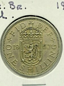 1957 GREAT BRITAIN ONE SHILLING COIN 277