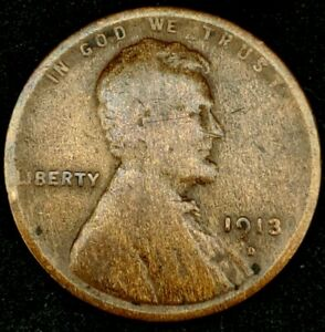 1913 D 1C LINCOLN WHEAT CENT 20LAA1121 70 CENTS SHIPPING