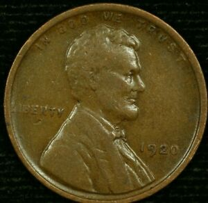 1920 P 1C LINCOLN WHEAT CENT VF 20LOS1223 70 CENTS SHIPPING