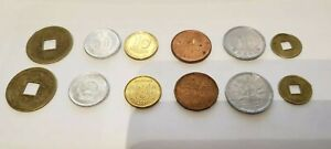 12 COINS LOT CANADA JAPAN CHINA UKRAINE NEW OLD UNC SET GOLD SILVER COPPER COLOR