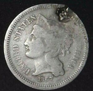 1867 P 3C THREE CENT NICKEL 21ULW0203 70 CENTS SHIPPING