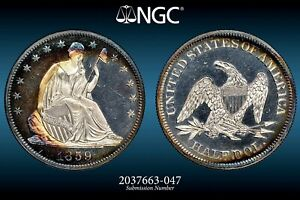 Click now to see the BUY IT NOW Price! 1859 50C  NGC PR 66 STAR CAMEO SEATED LIBERTY PROOF. EX: NEWMAN  COL.GREEN.