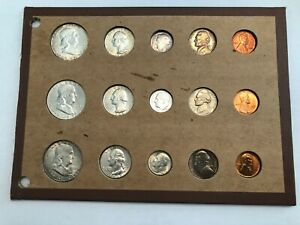 1954 P D S 15 COIN UNCIRCULATED MINT SET IN VINTAGE WAYTE RAYMOND PAGE.