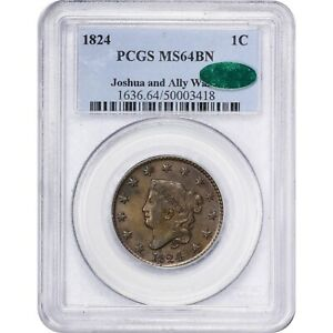 Click now to see the BUY IT NOW Price! 1824 1C MS64BN PCGS CAC CORONET HEAD LARGE CENT