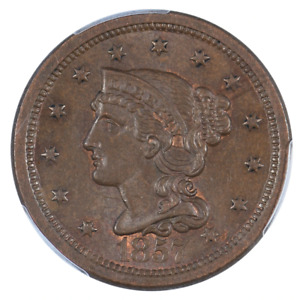 1857 BRAIDED HAIR CENT LARGE DATE PCGS MS64BN CAC