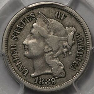 1889 THREE CENT NICKEL PCGS & CAC VF 35  BETTER DATE AND PQ